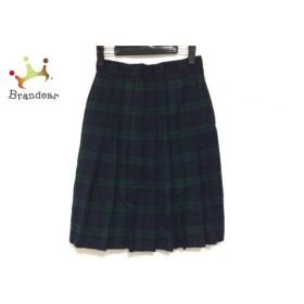 ヨークランド スカート サイズ9 M レディース ダークネイビー×グリーン チェック柄/プリーツ   スペシャル特価 20191009