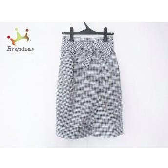 ジャスグリッティー JUSGLITTY スカート サイズ2 M レディース 白×黒×マルチ チェック柄 新着 20190709