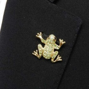 ラペルピン スワロフスキー カエル 蛙 ゴールド ブローチ メール便可