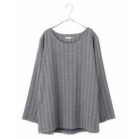 eur3 【大きいサイズ】ヘリンボン柄プルオーバー Tシャツ・カットソー,ネイビー