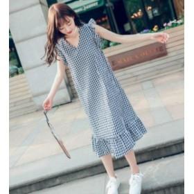 韓国 ファッション レディース ワンピース ギンガムチェック ロング Vネック 裾フリル ノースリーブ リボン オルチャン ゆったり 大人可