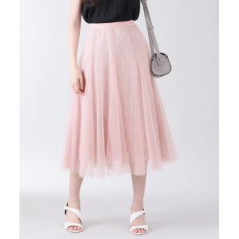 ブルーイースト チュール×レースレイヤードフレアースカート レディース ピンク M 【BLUEEAST】