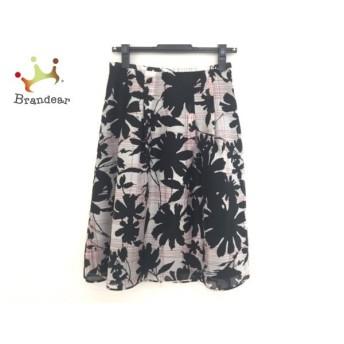 ランバンコレクション スカート サイズ38 M レディース 白×黒×レッド 花柄/チェック柄 新着 20190709