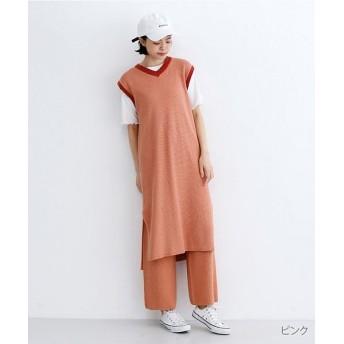 メルロー 配色ラインワッフル編みコットンニットワンピース レディース ピンク FREE 【merlot】