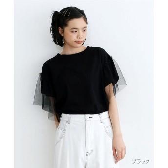 【50%OFF】 メルロー チュールドッキングTシャツ レディース ブラック FREE 【merlot】 【セール開催中】