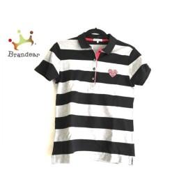 ラコステ Lacoste 半袖ポロシャツ サイズ42 L レディース 美品 黒×グレー×マルチ ボーダー 新着 20190709