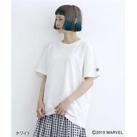 メルロー 袖刺繍バックプリントTシャツ レディース ホワイト FREE 【merlot】