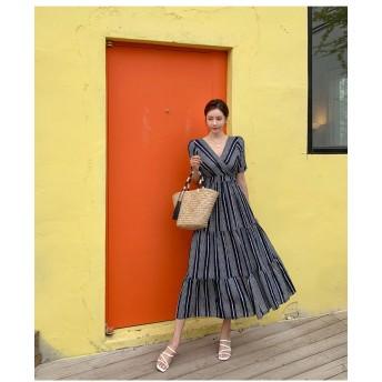 【送料無料】 夏までOK! 韓国ファッション 可愛い ドレス ワンピース チュニック 新作 ストライプ レディース