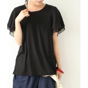 オシャレウォーカー フレアスリーブデザインTシャツ レディース ブラック 1(M~L) 【osharewalker】