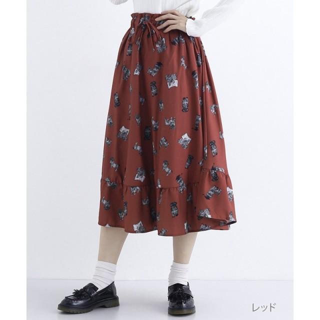 merlot シュナウザーの卒業プリントフリルヘムスカート