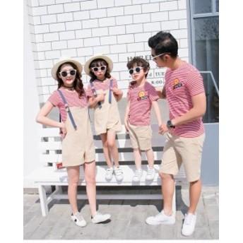 親子 ペアルック 夏 Tシャツ 夏 ボーダー ストライプ 姉妹お揃い兄弟ペア服 つりスカート 半袖 ショートパンツ ビーチ 2點