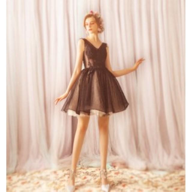 パーティードレス 二次会 結婚式 短めドレス 誕生日会服 演出服  同窓会 激安 レディース ワンピース  ブラック