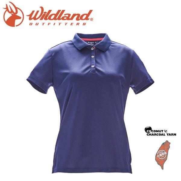 Wildland 荒野 女 椰炭紗YOKE領抗菌上衣《深藍》/0A71657/POLO衫/運動/抗UV/悠遊山水
