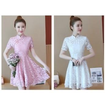 夏 レトロチャイナドレス 可愛い ミニスカート スタンドカラー ハイウエスト フラワー 花柄 ステッチ レース 白 ピンク