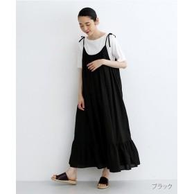 メルロー コットンティアードキャミソールワンピース レディース ブラック FREE 【merlot】