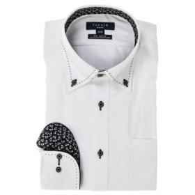 (TAKA-Q/タカキュー)形態安定スリムフィットボタンダウンパイピングハンドステッチ長袖ビジネスドレスシャツ/メンズ ホワイト