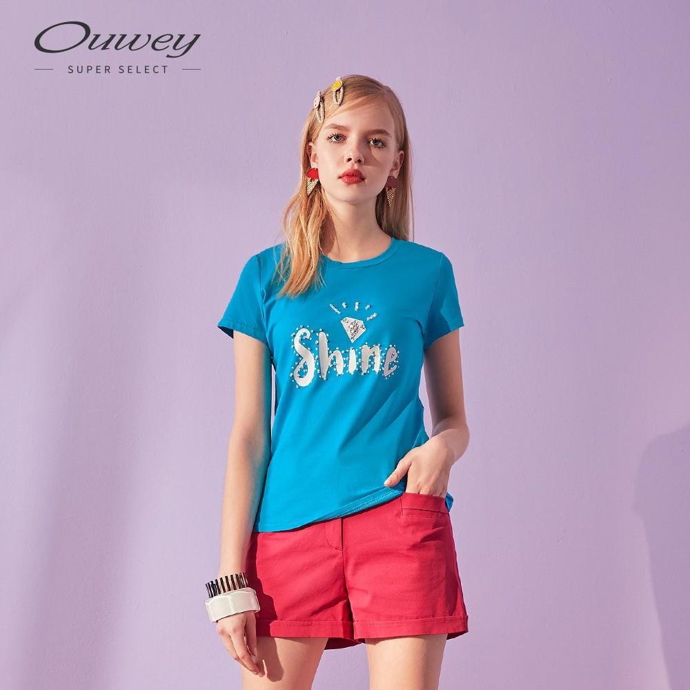 OUWEY歐薇 SHINE印花圓領上衣(黑/藍)I32105