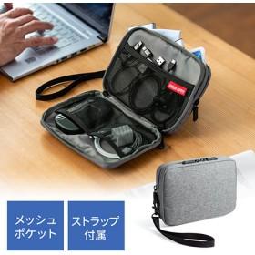ガジェットポーチ(モバイルバッテリー・Wi-Fiルーター・パスポート・iPhone・ケーブル収納・Mサイズ・グレー)
