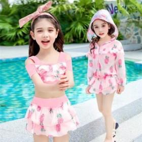 韓国子供服 キッズ 女の子 水着 セパレート アウター スイミング コート 3点セット 夏 子供 海 スクール ピンク イエロー 可愛い M L XL