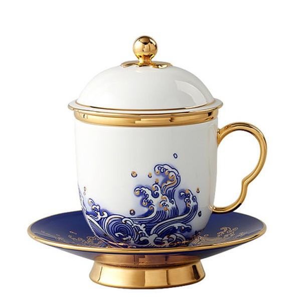 5Cgo中式國瓷250ml四件套陶瓷茶杯帶蓋茶漏辦公杯釉中金釉中彩純手工禮盒裝海上明珠強化瓷風雅571417496298