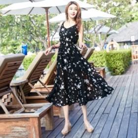 夏ワンピース レディース ビーチ 星柄 サンドレス リゾート サマードレス ワンピース  送料無料