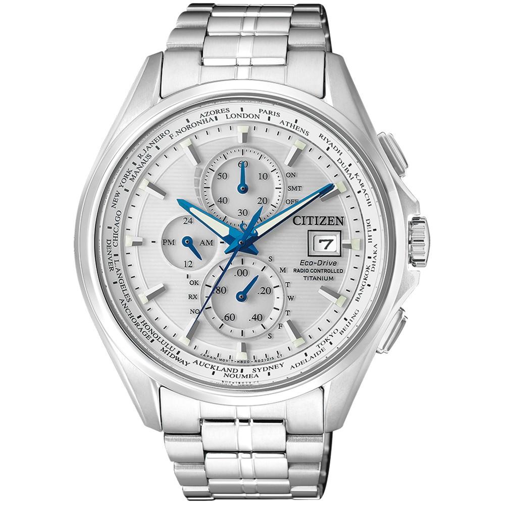【CITIZEN】GENT'S太空金屬電波計時鈦金時尚腕錶-銀(AT8130-56A)