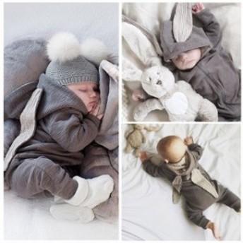 ロンパース ベビー服 新生児 コスプレ ベビー肌著 カバーオール パジャマ 服 秋冬 可愛い 赤ちゃん うさみみ 女の子 男の子