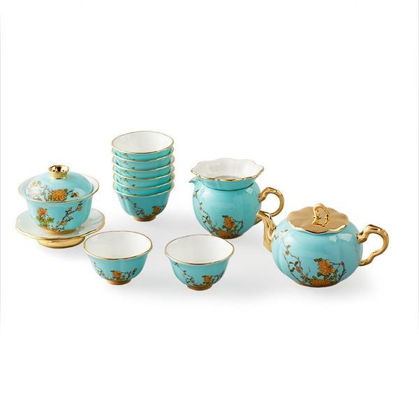 5Cgo手工15頭家用新中式茶具套裝泡茶蓋碗陶瓷茶杯壺強化瓷24K金邊健康無鉛無镉透明粙水墨風釉中彩5464673746