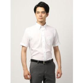 【THE SUIT COMPANY:トップス】【半袖・COOL MAX】ボタンダウンカラードレスシャツ 織柄 〔EC・BASIC〕