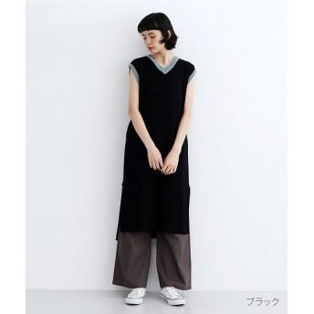 メルロー 配色ラインワッフル編みコットンニットワンピース レディース ブラック FREE 【merlot】