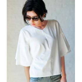(Ranan/ラナン)ひら袖フェミニンTシャツ/レディース ホワイト
