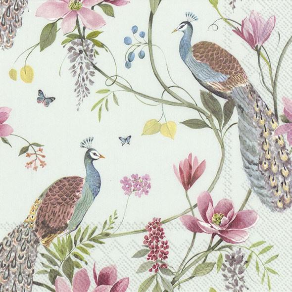 【IHR】 33×33 CM餐巾紙-孔雀花園(淡藍底)