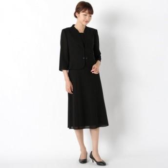 フォーマル レディース 喪服 礼服 ブラックフォーマル スーツ スタンドカラー2ピース風ウォッシャブルワンピース 「ブラック」