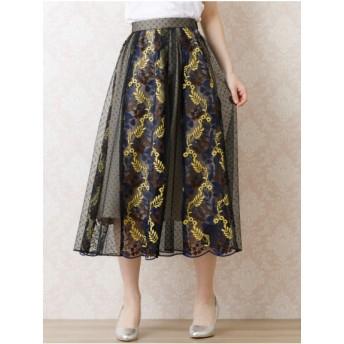 【大きいサイズレディース】★ファイナルセール★チュール刺繍フレアスカート スカート その他スカート