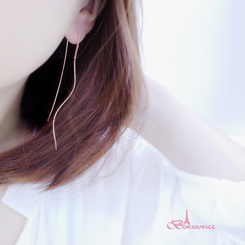 韓國簡約浪漫曲線 針式耳環 耳環 【Bonjouracc】
