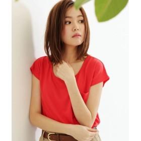 (SocialGIRL/ソーシャルガール)美ラインシンプルUネックTシャツ/レディース レッド系1