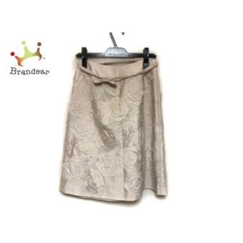 トゥービーシック TO BE CHIC スカート サイズ40 M レディース 美品 ベージュ フラワー/ビーズ 新着 20190709