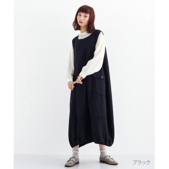 メルロー ツイードライクコクーンワンピース レディース ブラック FREE 【merlot】