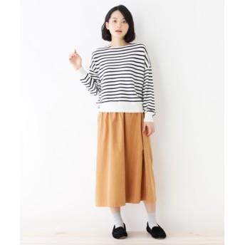 ニット・セーター - pink adobe 【セットアイテム】ボーダーニット+スエード調スカート