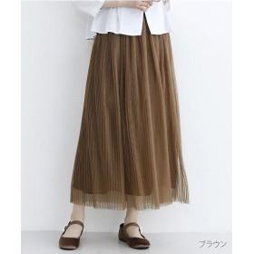 メルロー チュールプリーツスカート レディース ブラウン FREE 【merlot】