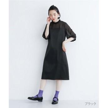 メルロー フリルネック切替ボックスワンピース レディース ブラック FREE 【merlot】
