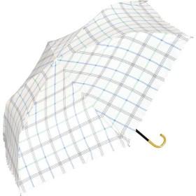 晴雨兼用折りたたみ傘 遮光 ガーリーチェック 傘袋付き ブルー