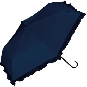 晴雨兼用折りたたみ傘 遮光 クラシックフリル 傘袋付き ネイビー