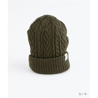 メルロー ケーブル編み×リブ編みリバーシブルニット帽 レディース カーキ FREE 【merlot】
