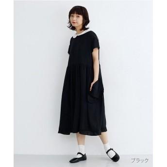メルロー フリルポケットバイカラー丸襟ワンピース レディース ブラック FREE 【merlot】