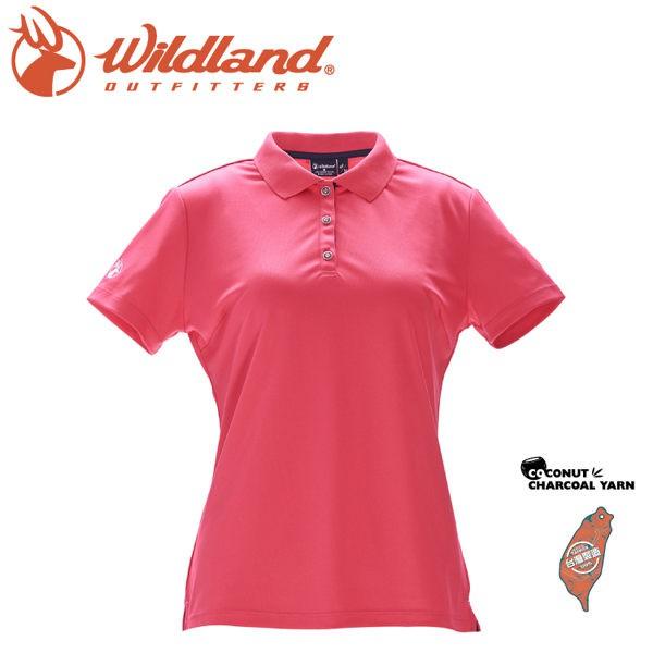 Wildland 荒野 女 椰炭紗YOKE領抗菌上衣《嫣紅色》/0A71657/POLO衫/運動/抗UV/悠遊山水