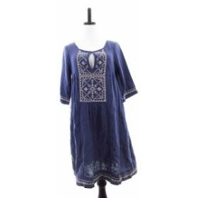 【中古】ショコラフィネローブ chocol raffine robe ワンピース ひざ丈 五分袖 総柄 青 ブルー /CK レディース
