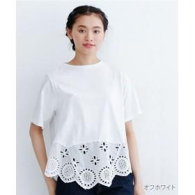メルロー カットワークレース裾切り替えプルオーバー レディース オフホワイト FREE 【merlot】