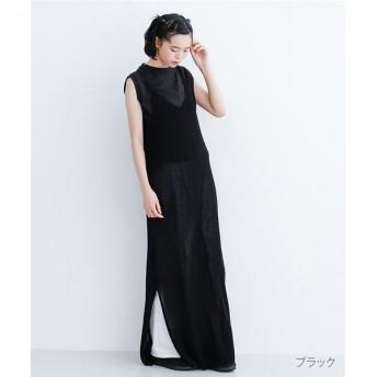 メルロー ニットキャミロングワンピース レディース ブラック FREE 【merlot】