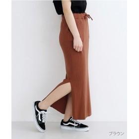 メルロー サイドスリットリブコットンニットスカート レディース ブラウン FREE 【merlot】